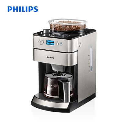 飞利浦(PHILIPS)咖啡机 家用全自动现磨一体带咖啡豆研磨功能 防滴漏式 不锈钢机身 美式咖啡 HD7751/00 9档新鲜研磨,配LED液晶显示屏,豆粉两用