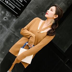 七格格打底针织衫女装春装2018新款韩版修身百搭长袖薄开衫外套毛衣