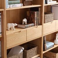 北欧简约白橡木实木书柜书架组合 开放书房家具展示柜子置物架 0.6-0.8米宽