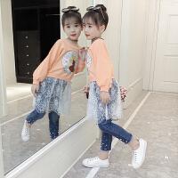 童装女童秋装套装女大童洋气时髦牛仔裤中大儿童两件套潮