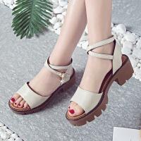凉鞋女夏季厚底粗跟一字扣带女鞋学生露趾高跟鞋