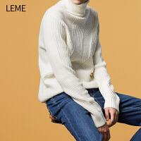 【4折到手价:103.6】LEME高领毛衣新款男士时尚针织衫韩版潮流帅气打底针织衫