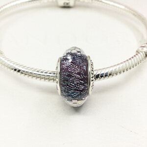 PANDORA潘多拉 深紫色闪烁琉璃925银琉璃串饰791663