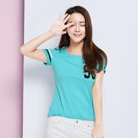 森马短袖T恤 夏装 女士运动休闲条纹字母印花纯棉情侣t恤