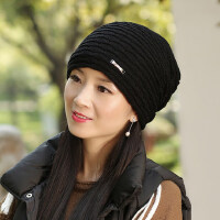 毛线帽子女士时尚韩版潮针织加绒护耳骑车防寒防风保暖帽