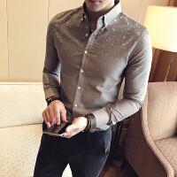 气质男人春秋绅士衬衣男装韩版修身长袖衬衫男士寸衫发型师上衣男