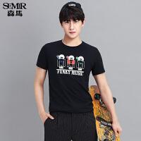 森马短袖T恤 夏装 男士卡通印花纯棉直筒针织衫韩版潮T男