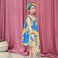 女童夏天连衣裙海边度假儿童沙滩裙夏威夷中大童棉麻印花吊带裙子