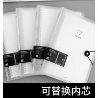 活页本B5-60页分类透明笔记本子可拆卸韩版 小清新简约学生用记事本创意反包式加厚日记本文具