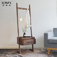 北欧云梯床头柜创意小户型沙发边几边柜实木收纳柜衣帽架储物柜 组装
