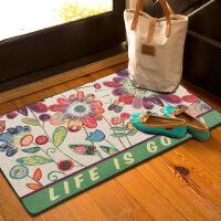 Evergreen爱屋格林美式印花麻布地垫现代家用卧室客厅防滑门垫