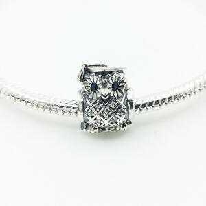 Pandora/潘多拉925银15年蓝眼猫头鹰串珠 791502NSB