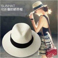 户外出游沙滩帽子女士度假海边遮阳帽子 新款可折叠草帽女太阳帽防晒帽礼帽