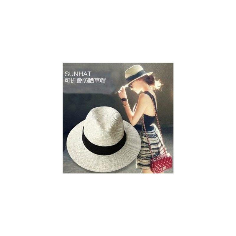 户外出游沙滩帽子女士度假海边遮阳帽子 新款可折叠草帽女太阳帽防晒帽礼帽 品质保证 售后无忧