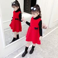 秋冬小女孩洋气公主裙宝宝儿童毛呢冬裙子女童红色连衣裙