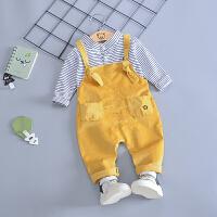宝宝套装男1―2-3岁童装男童秋装潮婴儿童秋装灯芯绒背带裤两件套