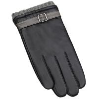 男士真皮手套冬季触屏羊皮加绒加厚保暖毛线套口骑车摩托车青少年 黑色触屏