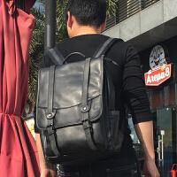 20180701193521107新款潮流复古双肩包男韩版英伦百搭学生书包男士电脑背包旅行 黑色