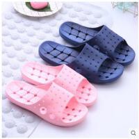 漏水夏季家居情侣新浴室拖鞋防滑洗澡居家室内厚底男女塑料凉拖鞋
