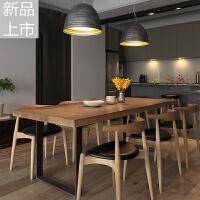 北欧风复古铁艺实木餐桌家用咖啡店长方形饭店咖啡厅餐桌椅组合定制