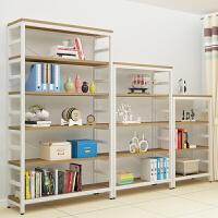 创意钢木书架铁艺置物架落地简易多层墙壁书橱组合书柜储物架货架