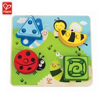 Hape智力昆虫分类拼图2岁以上木制益智玩具积木拼插拼图拼板E0425