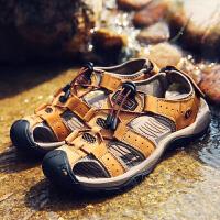 【秋尚新大促,满299减200】夏季新款男式运动登山凉鞋包头凉鞋户外沙滩鞋真皮头层大码凉鞋男