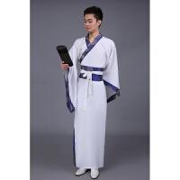 华服唐装古装古代服装汉服男男士曲裾书生 男士黑色汉服直裾深衣 白色蓝边