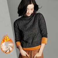 毛衣 女士修身加绒毛衣2020秋冬新款女式时尚半高领套头衫学生简约亮丝保暖针织衫