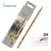 MARCO/马可 7001-12CB 高级绘图铅笔12支装/3H 原木杆初学者素描笔专业美术用品画材套装速写笔儿童全灰