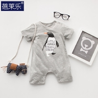 婴儿连体衣服宝宝新生儿哈衣棉0岁3月短外出服2睡衣新年