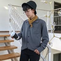 清新宽松长袖衬衫韩版学生男女复古休闲青年衬衣潮