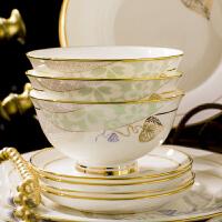 景德镇陶瓷金边餐具碗勺60头套装家用碗盘子套装骨瓷碗筷手工描金