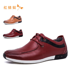 红蜻蜓时尚圆头系带低跟舒适男单鞋