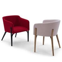 北欧风格餐椅简约靠背椅子软包布艺售楼处咖啡厅酒店时尚洽谈椅