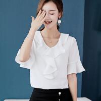 T恤 女士圆领修身喇叭袖套头衫2019年新款韩版时尚洋气女式大码女装雪纺衫