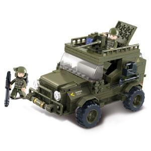 【当当自营】小鲁班陆军部队2军事系列儿童益智拼装积木玩具 陆军吉普车M38-B0299