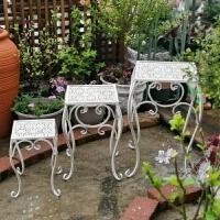 美式复古铁艺花凳三件套花园园艺台层次阶梯花架盆栽装饰花托 花凳三件套
