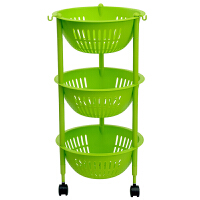 【新品特惠】家用塑料置物架三层收纳杂物厨房水果蔬菜储物篮移动浴室客厅房间
