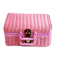 复古收纳箱子 藤编整理储物箱编织藤装饰道具用手提箱两个装