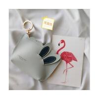 韩版可爱兔耳朵零钱包粉嫩少女心卡通小包包创意迷你收纳包硬币包
