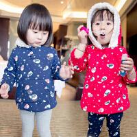 *儿童装女童加绒加厚长袖卫衣2018冬装新款棉衣