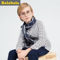 巴拉巴拉男童长袖加绒衬衫中大童上衣冬装童装儿童衬衣