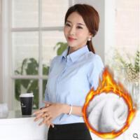 白衬衫女长袖职业装户外新品网红同款新款加绒韩范正装工装OL工作服面试装