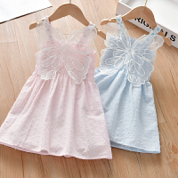 女童夏季蝴蝶连衣裙女宝宝薄款提花吊带裙儿童无袖裙子