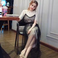2018夏装新款两件套裙子心机套装女装网纱吊带裙+中长款T恤连衣裙