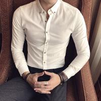 韩版长袖衬衫男士修身秋季新款商务休闲潮男白衬衣帅气职业装寸衫