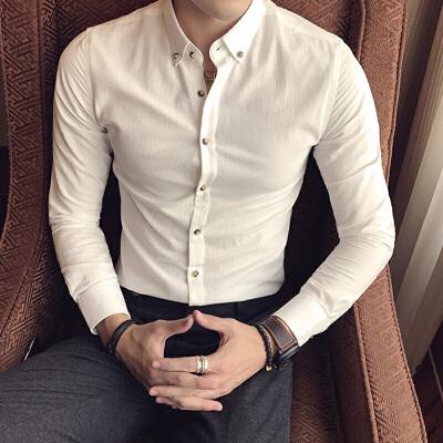 韩版长袖衬衫男士修身秋季新款商务休闲潮男白衬衣帅气职业装寸衫 发货周期:一般在付款后2-90天左右发货,具体发货时间请以与客服协商的时间为准
