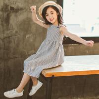 中大童装女童夏装连衣裙2018新款韩版洋气儿童夏季裙子女孩公主裙 黑白条纹 露背连衣裙 『标准尺码』