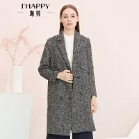 【2件5折】【9.6上新】海贝年春季新款女 翻领双排扣中长款粗毛呢大衣